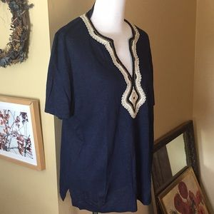 Tory Burch Tops - TORY BURCH XL Tunic Top Decorated Collar $248 NEW